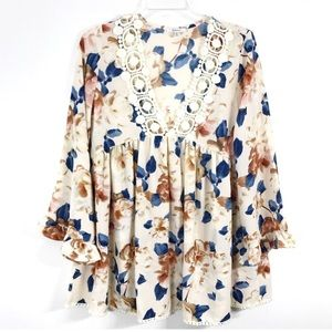 Jodifl Floral Blouse Ruffle Bell Sleeve